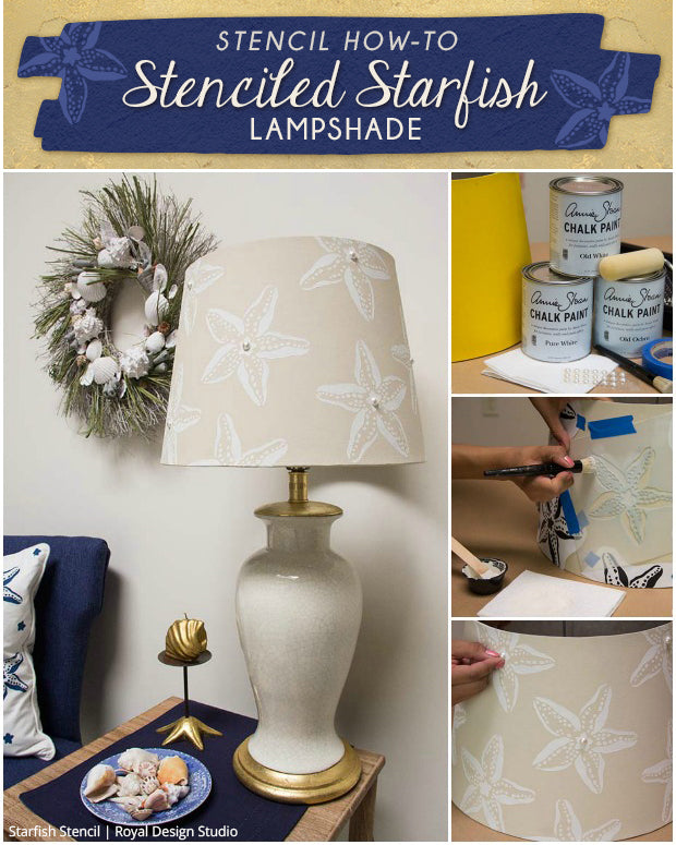 DIY Beach Decor Tutorial: Stenciled Starfish Lampshade