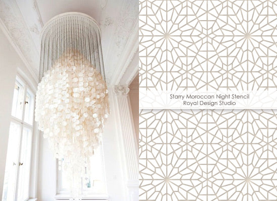 White on white decorating with the Starry Night Moroccan stencil from Royal Design Studio