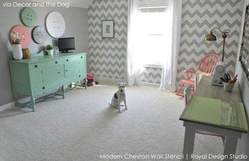 Stenciled Chevron Stripes in Gray and White for a creative craft room space.