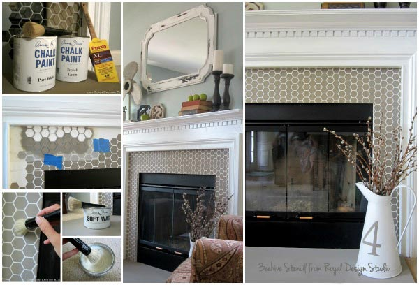 How to stencil tile around a fireplace surround
