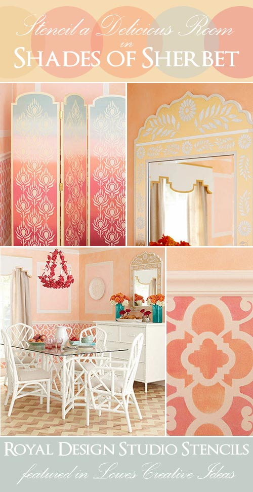 Stencils from Moroccan Stencil Collection by Royal Design Studio featured in DIY stencil project in Lowes Creative Ideas
