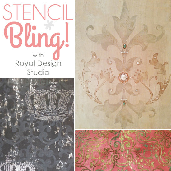 Embellishing Stenciled Walls With Glitz Glass And