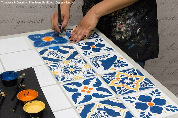 How to Stencil a Mexican Talavera Tile Table DIY Project