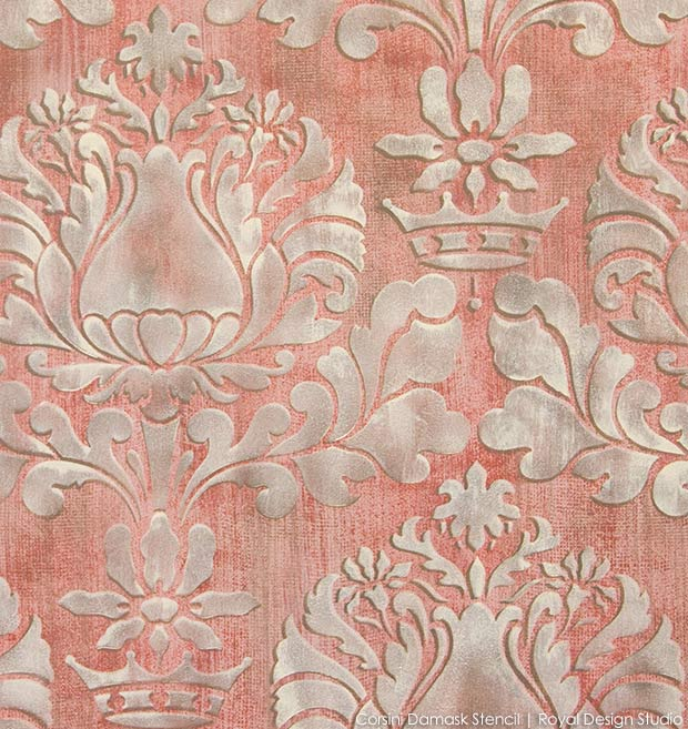 Learn how to stencil with Royal Design Studio wall stencils - How to paint a fabric texture wall finish