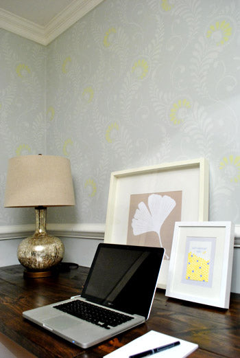 Wall stenciling project home office