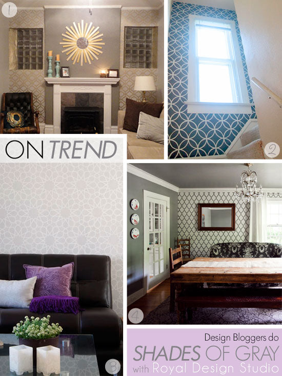Wall stencils in allover patterns including modern and Moroccan styles dress up walls in shades of gray