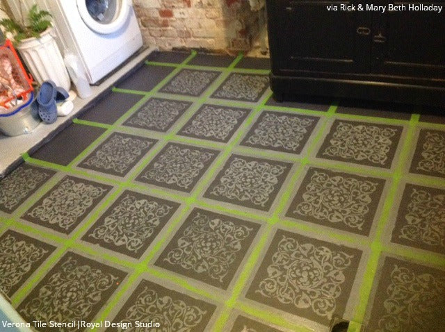 Tile Floor Stencils for a DIY Bathroom Makeover