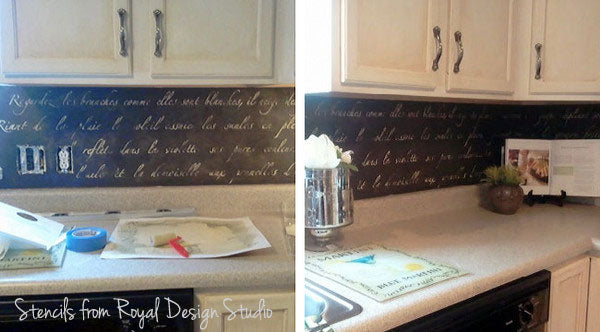 stenciled backsplash with typography
