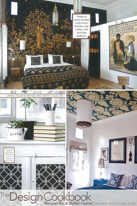 Stencils on walls, ceilings, and furniture