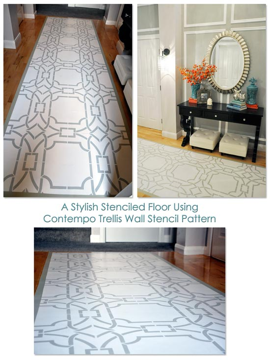 A Stenciled Floor Using Contempo Trellis Wall Stencil Pattern by Royal Design Studios