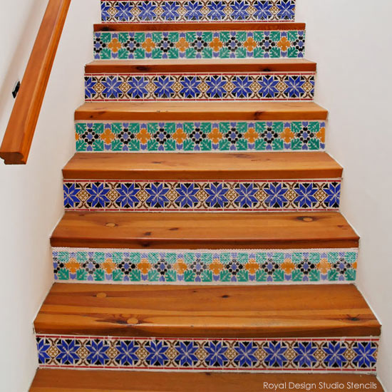 Stenciled stair risers for Moroccan flair | Royal Design Studio