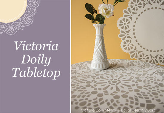 Large Victoria Doily Stencil pattern stenciled on a tabletop | Royal Design Studio