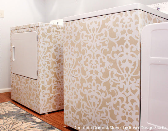 Donatella Damask on Washer & Dryer with Chalk Paint decorative paint by Annie Sloan | Artist: Erin from How to Nest for Less | Royal Design Studio