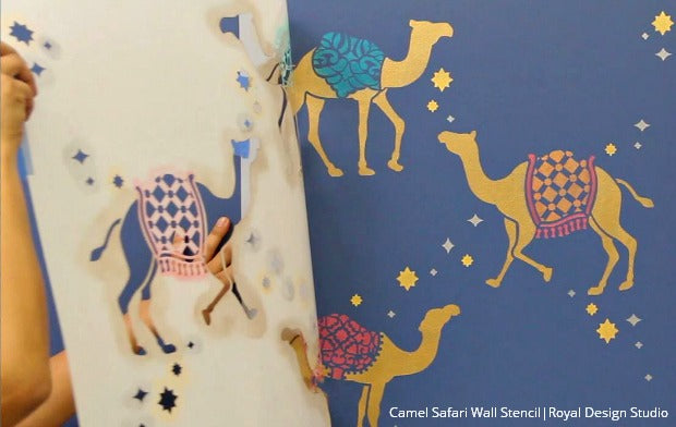 How to Stencil Metallic Moroccan Camel Wallpaper Patterns - Royal Design Studio Stencil Video Tutorial