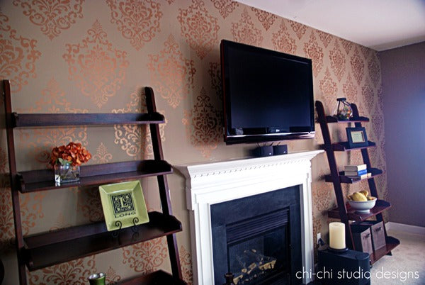 stenciled wall with Ornamental Cartouche Stencil