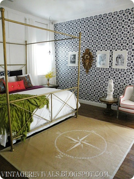 Geometric Pattern Wall Stencils Perfect this Bedroom ...