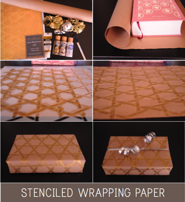 holiday stenciled wrapping paper