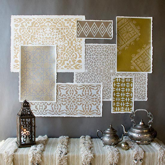 Moroccan stencil wall art project using patterns and Stencil Cremes from Royal Design Studio. Click for How-to stencil!