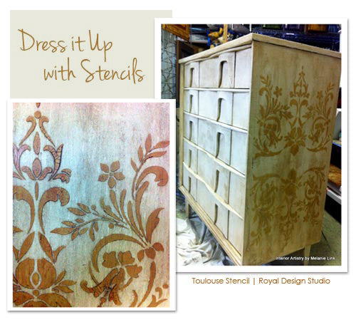 furniture stencil project with classic stencils