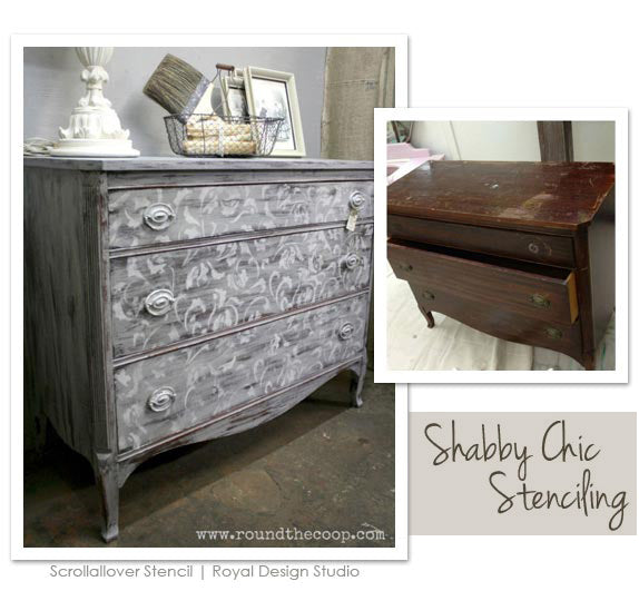 Shabby chic furniture stencil
