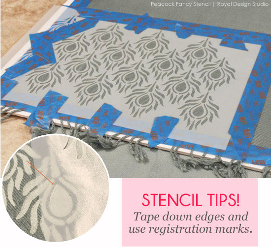 Stenciled Scarves with Peacock Fancy Stencil from Royal Design Studio