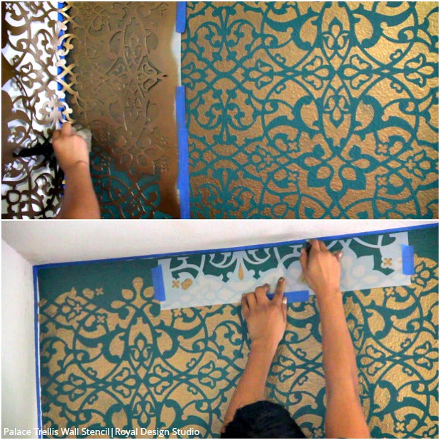 [VIDEO TUTORIAL] How to Stencil a DIY Wallpaper Look for Less! Painting a Large Feature Wall with Pattern for Cheap! with Royal Design Studio Wall Stencils
