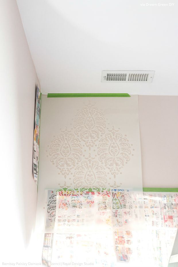 Dream Green DIY Stencils a Bombay Pink Paisley Wall - Royal Design Studio Wall Stencils