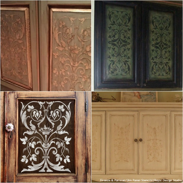 20 diy cabinet door makeovers with furniture stencils royal design studio stencils. Black Bedroom Furniture Sets. Home Design Ideas