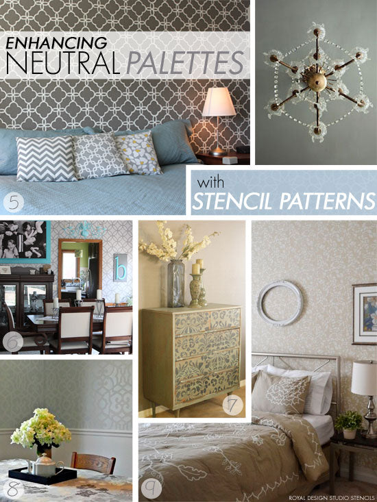 Moroccan and modern allover wall stencils create fabulous feature walls in neutral shades of gray