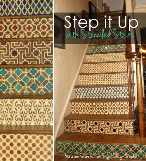 Wonderful Stair Riser Stenciling With Moroccan Stencils