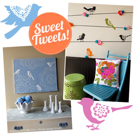 Bird Lace Stencils for Kids' rooms or fun DIY Projects