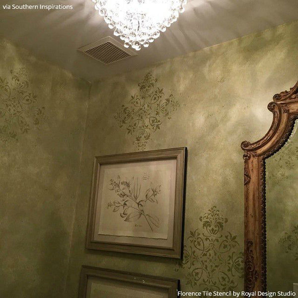 17 Floor to Ceiling Tile Stencils Transformations using Royal Design Studio Stencils