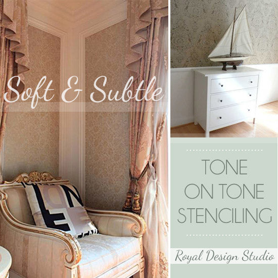 Painted in Similar Tones and Finishes Stencils make for Elegant Decor | Royal Design Studio