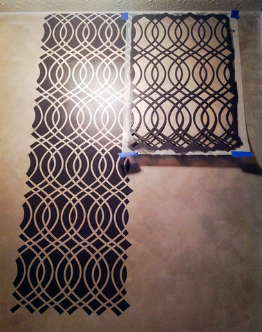 Stenciling process with Teardrop Trellis Stencil from Royal Design Studio