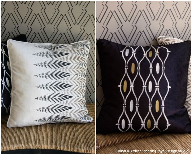 Stenciled Pillows for Every Style - Exotic Tribal & African Fabric Stencils by Royal Design Studio