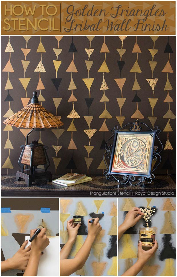 How to Stencil: Metallic Tribal Wall Finish - DIY Decor Project for Modern Wallpaper Look with Wall Stencils - Royal Design Studio