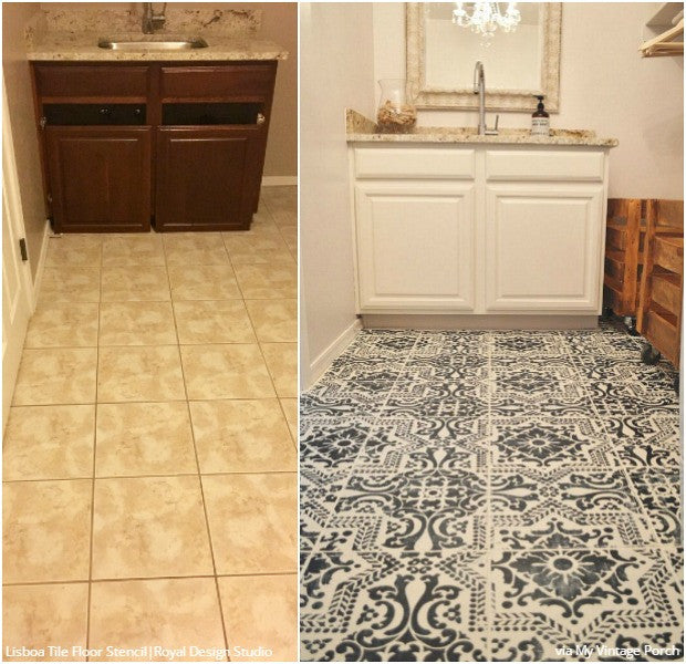 Diy floor stencils for painting vintage farmhouse style - Home decorators carpet paint ...