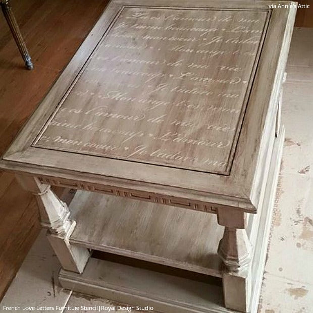 Stencil Your Way to Lovely French Furniture - 13 Decorating Ideas using the French Love Letters Furniture Stencils from Royal Design Studio
