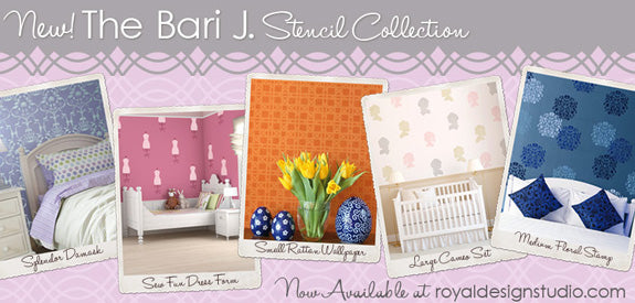 Stencils for walls, furniture, and fabric from Bari J