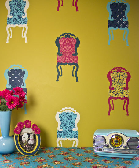 Stencil pattern in pattern with the Parlor Chair wall stencil from Royal Design Studio