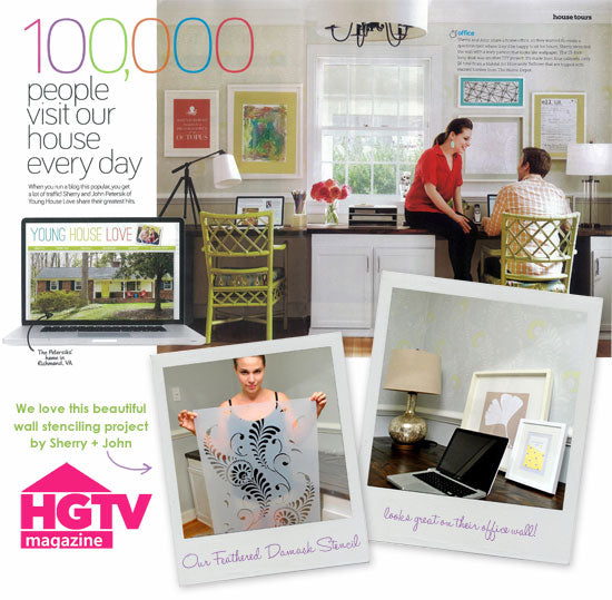 Royal Design Studio furniture stencils featured in HGTV magazine