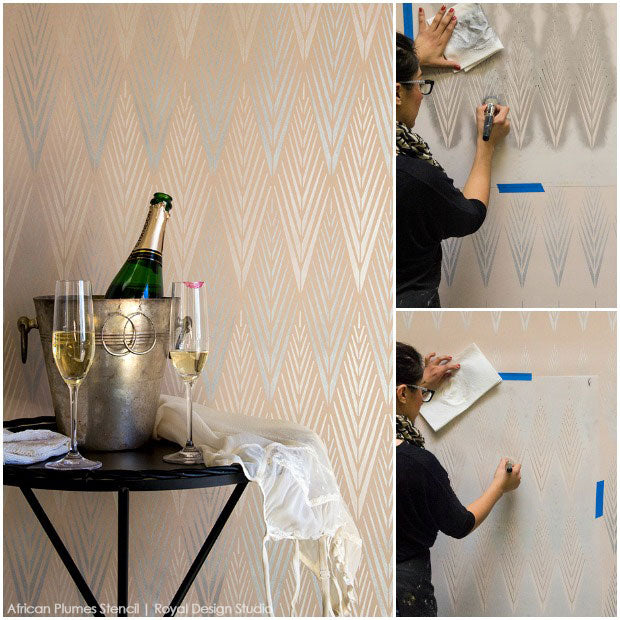 5 Fabulously Easy Ways to Stencil Walls with Metallic Royal Stencil Creme Paints