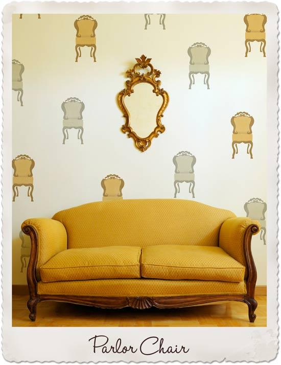 Adorable wall stencil! The Parlor Chair stencil from the Bari J Collection by Royal Design Studio