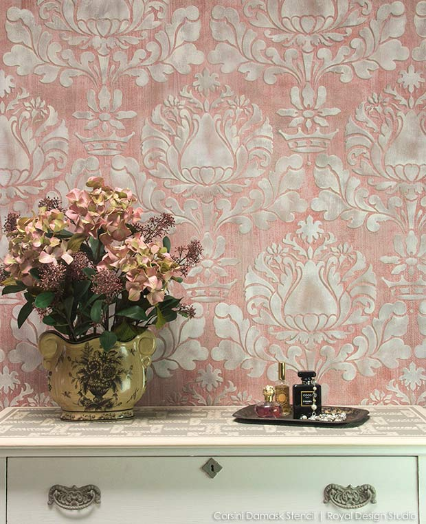 Paint accent walls using wall stencils from Royal Design Studio - How to paint a pink fabric texture wall finish