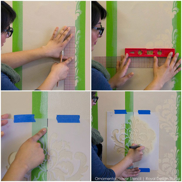 How to Stencil Inverted Designs on a Tone on Tone Striped Wall - Royal Design Studio Wall Stencils Tutorial