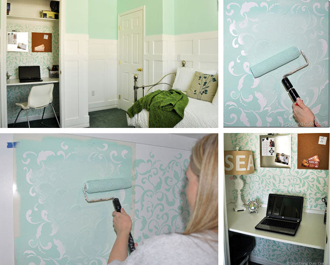 DIY wall stencil project home office