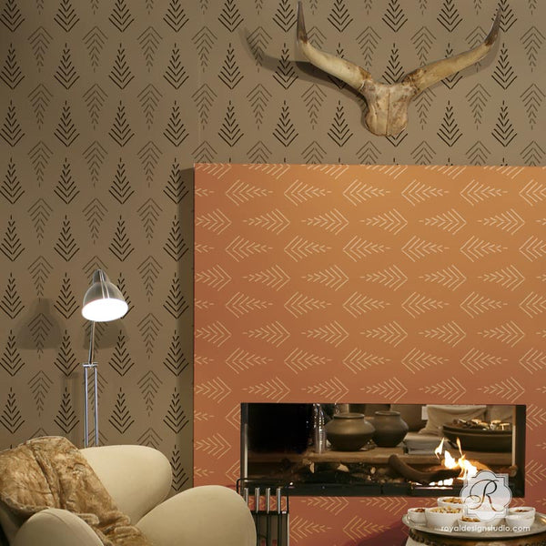 African Design and Tribal Pattern Decor Ideas - Wall Stencils, Designer Stencils from Royal Design Studio