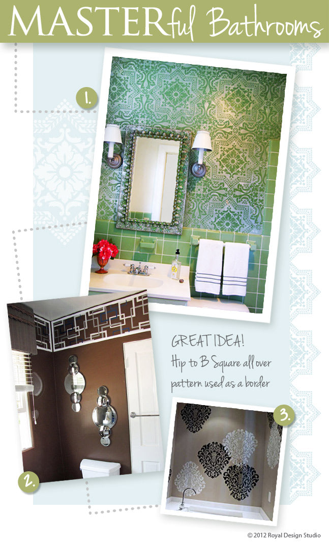 How to stencil and use stencils for  bathroom walls