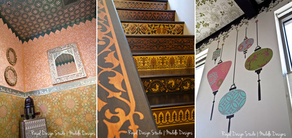 Stenciled wall surfaces at Royal Design Studio