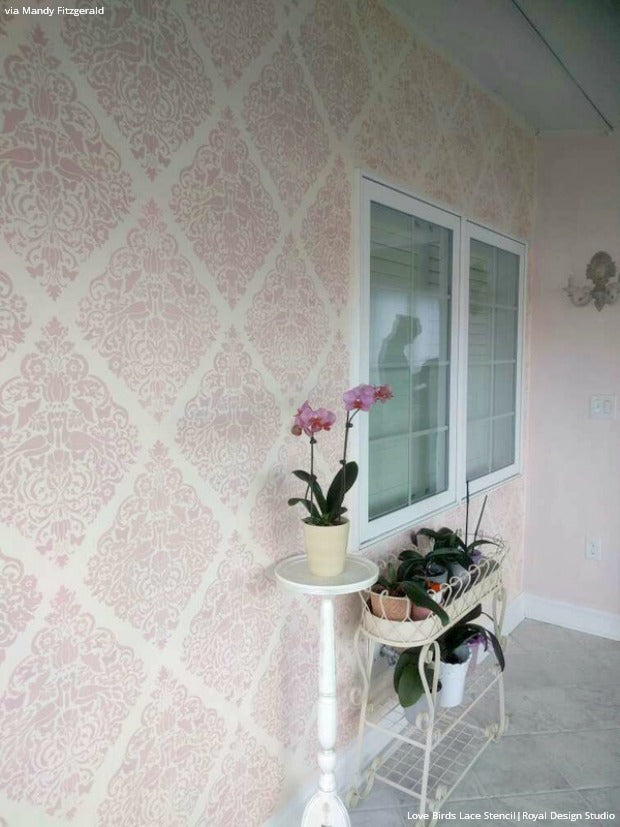 4 DIY Painting and Home Decorating Ideas with Wall Stencils for the Artistic Romantic - Lace & Damask Wall Stencil Patterns from Royal Design Studio